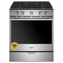 5.8 Cu. Ft. Smart Contemporary Handle Slide-in Gas Range with EZ-2-Lift™ Hinged Cast-iron Grates